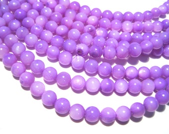 1 strand Purple Dyed 6mm Round Mother of Pearl Shell Beads