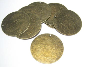 10pcs Large Round Antique Bronze Brass Blank Stamping Tag Charms Pendants 34mm