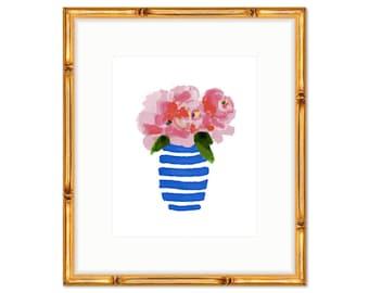 Floral Bouquet no. 2 -- Blue and White Floral Print -- Watercolor Print -- Home Decor