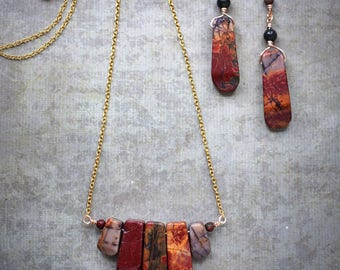 Picasso Jasper gemstone necklace and earrings set