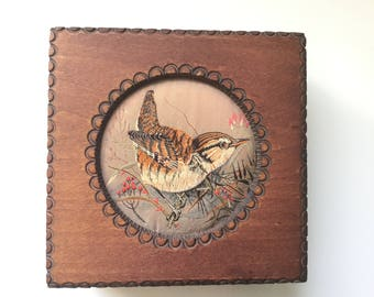 Vintage Handmade Box with Woven Tapestry Bird Inset/Made in Tatra Mountains, Poland for J&J Cash Ltd. Coventry England