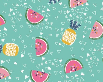 Fabric - Dashwood studios - Club Tropicana, pineapple and water melon - medium weight woven cotton fabric.