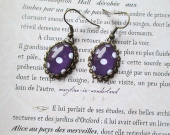 Dot dark purple cabochon earrings
