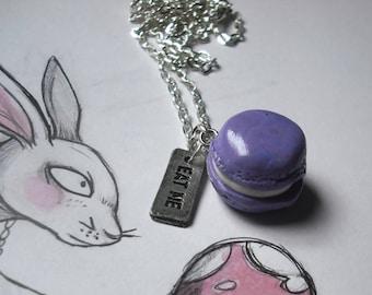 handmade unique fimo Lavender macaroon necklace