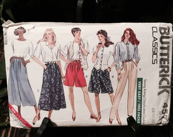 1990 Butterick Very Easy Pattern No 4575 Classic Misses' Shorts, Skirt, Culottes and Pants Sz 12-14-16