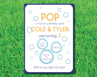 Bubble Theme Birthday Party Invitation-Bubbles Birthday Party Invite- Bubble Theme Birthday Invitation- Summer Birthday Party Theme