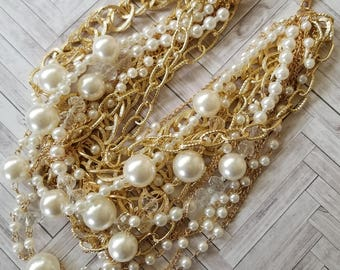Pearls and Gold Chains, Clear Faceted Beads, Excessive Gaudiness