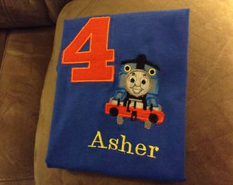 Birthday Number, Name with Blue Train Applique