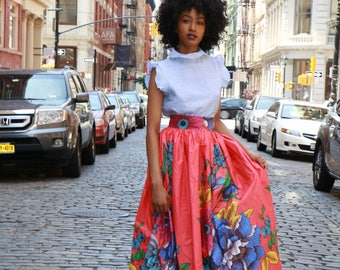 African Print Skirt: Floral Maxi