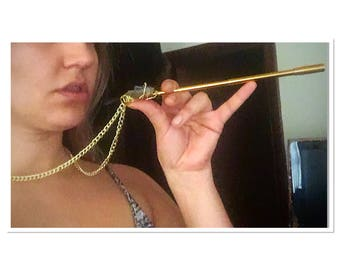 Gold Wire Wrapped Cigarette Extender Necklace