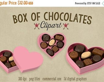 80% OFF SALE Valentine's Day Clipart, Candy Clipart, Box of Chocolates, 300 dpi Png file, commercial use, love heart candy