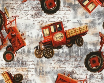Tossed Tractors Fabric; You Choose Size; C5480; Timeless Treasures; Novelty Fabric; Barn, Script, Farm Equipment, Farm Tractor