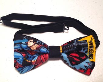 bow tie made from superman fabric pretied superhero cotton neckband clip on bowtie tie