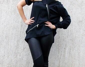 SUN SALE 25% OFF Teyxo Black Cotton Shirt /  Oversize Avant Garde Top Tt42
