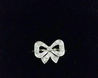 18k diamond bow ring   14k diamond ring