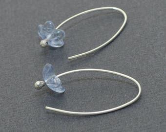 Sterling Silver Hoops, Czech Glass, Crystal Hoops, Silver Hoops, 20 gauge, Flower Hoops, Dandelion