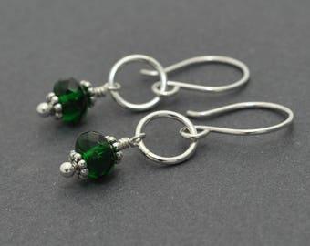 Silver Dangle Earrings, Czech Glass Earrings, Christmas Earrings, Green Earrings, Circle Earrings