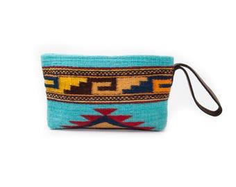HUGE SALE!! Clutch/Wristlet clutch/Boho clutch/Handwoven/Wool/   Hand dyed/   Brown leather strap/Tribal/Native design/Turquoise/Orange/Red