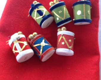 Set of 6 Flocked Christmas Tree Drum Ornaments