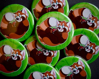 "Strawberry Panda 1.5"" Pinback Button"