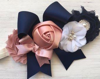 Navy Dusty Rose Wedding Dog collar, Navy dog collar Flowers, Wedding Dog Collar, Dog Wedding Collar, collar with flowers, Dog Hair Bows