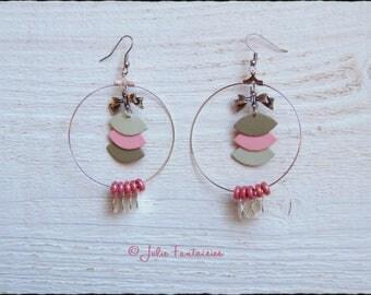 Hoop earrings * leather silver and Pastel ♥