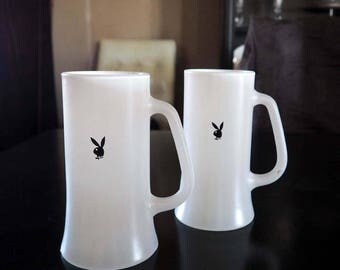 PAIR of Vintage Playboy Beer Mugs, Steins - White Frosted Glass