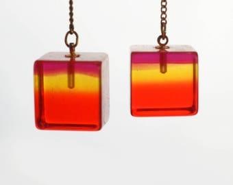 Vintage Mod Orange Lucite Cube Dangle Earrings