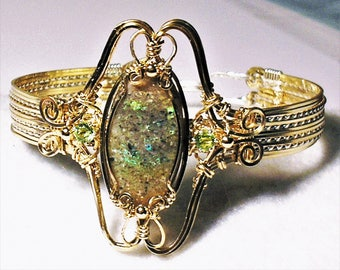 Louisiana Opal (Extremely Rare) Handmade Wire-Wrapped Bracelet with Peridot - Beautiful Fire/Colors!!!