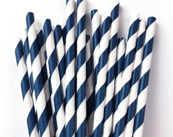 Navy and White Paper Straws (25), Navy Party Straws, Navy Paper Straws, Dark Blue Straws, Navy Straws, Blue and White, Wedding Straws