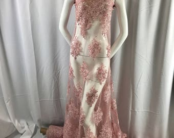 Pink charming design embroider and beaded on a mesh lace-prom-nightgown-bridal-wedding-apparel-fashion-sold by the yard.