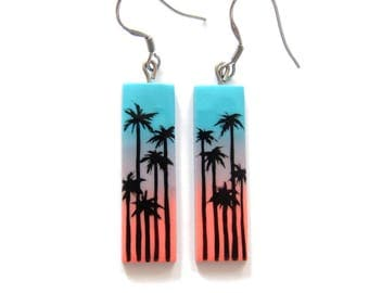Palm Trees Earrings, Palm Trees Fashion, Blue Earrings, Pink Earrings, Sunrise Sunshine Jewelry, Rectangle Earrings, Exotic Summer Jewelry
