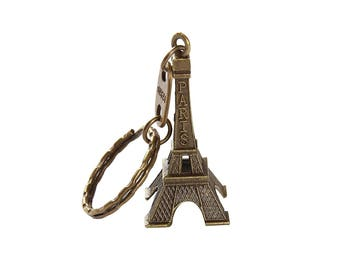 Eiffel Tower French Souvenir Paris Keychain Cute Adornment Keyring (Bronze)