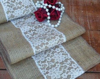 Burlap Runner with Lace - Rustic Table Runner with Lace - Table Decor - Wedding Runner with Lace - Wedding Runner - Choose Length