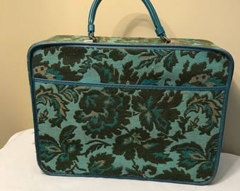 Vintage blue tapestry child's suitcase