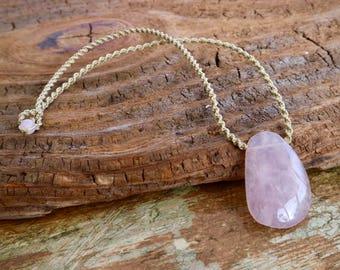 Rose Quartz Pendant with Rose Quartz Beads / Macramé Necklace / Stone Necklace / knotty knotty macrame