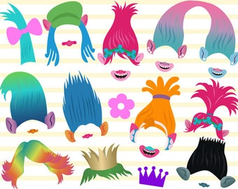 Instant Download Trolls Photo Booth Props Trolls Party Photo Booth Props Trolls Party Photobooth Prop Trolls Birthday Photo Booth Props 0170