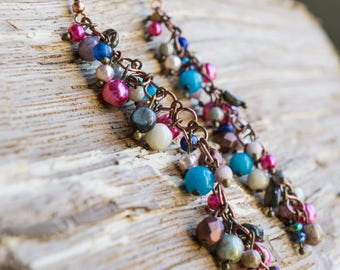 Extra long beaded bohemian earrings