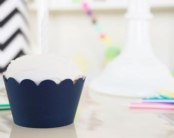 It's okay to be OBSESSED - NAVY BLUE Cupcake Wrappers - Set of 30