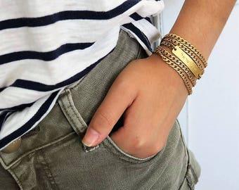 Shema Bracelet, Gold Filled Charm Bracelet, Engraved Bar Bracelet, Chunky Chain Bracelet, Hebrew Bracelet, Wrap Bracelet, Holy Land Jewelry