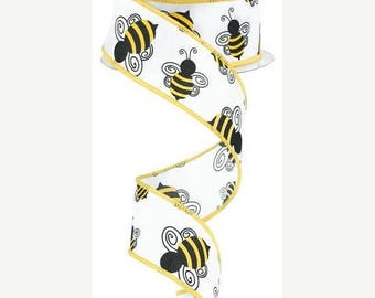 """Sale 1.5""""x10yd wired bumble bee ribbon, bumble bee ribbon, bumble bee wired ribbon, ribbon, bumble bee, wreath ribbon, wired ribbon, bumbleb"""