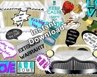 Wedding, Engagement, Instant Download, Printable Photo Props, Bumper Wedding party pack, Photo Prop File, Party, Car, Kissing Booth, Romance