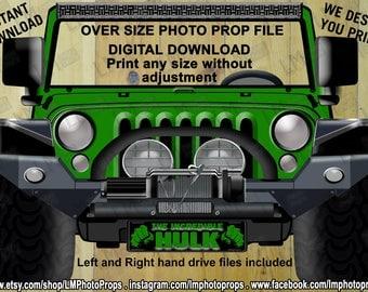 Muscle Jeep Inspired Hulk Car, The Incredible Hulk, Green, Instant Download, DIY, Fantastic Four, Superhero, Avengers, Hulk Theme Party,