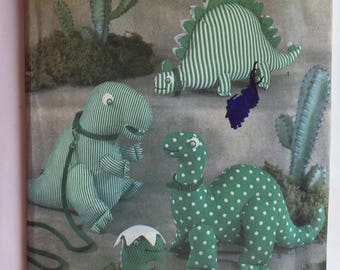 Vintage 1980's Simplicity 8378 Pattern for Stuffed Dinasaurs by Shirley Botsford uncut