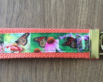 Monarch Butterfly Key Chain Wristlet Zipper Pull