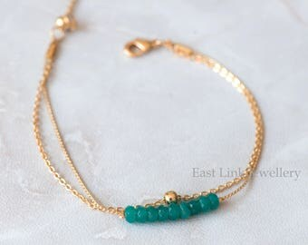 Handmade petite style 14K Gold plated natural stone Turquoise December birthstone bracelet birthday gift beaded chain bracelet
