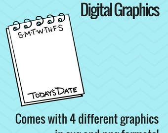 Digital Graphics - Calendar Notepad with Days of the week -  Bullet Journal Digital Stamps
