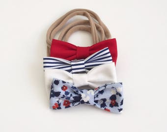 SALE 25% Off July 4th Floral - MINI Girls Hair Bows - Set of Four (4) /Girls Hair Bows. Patriotic / Fourth of July Baby Bows. NB & Toddlers