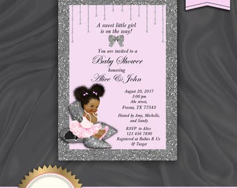 Printable Baby Shower Invitation, Baby Girl Invitation, African American, Pink and Silver, Glitter Shoes - Printable, Digital file, BS15