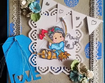"card scrap, stamp ""edwin in Cherub"" Magnolia"